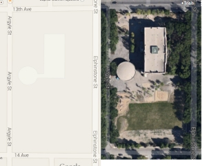 Arial view of orginal school footprint